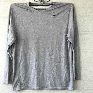 Nike Dri-Fit Gray Tee 2XL Men Swoosh Logo V-Neck
